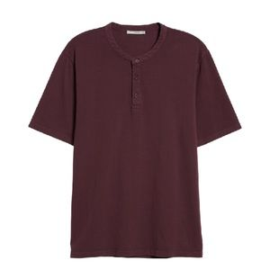 Vince Mens Short Sleeve Henley in Mulberry